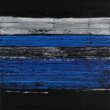 Black and White with Prussian Blue no.2143 (Ready to hang)